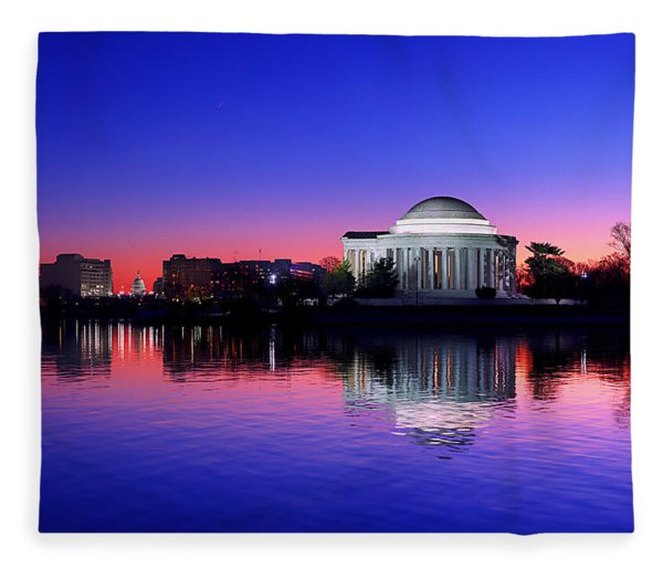 Clear Blue Morning At The Jefferson Memorial Fleece Blanket