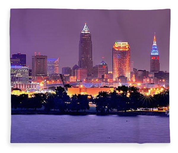 Cleveland Skyline At Night Evening Panorama Fleece Blanket