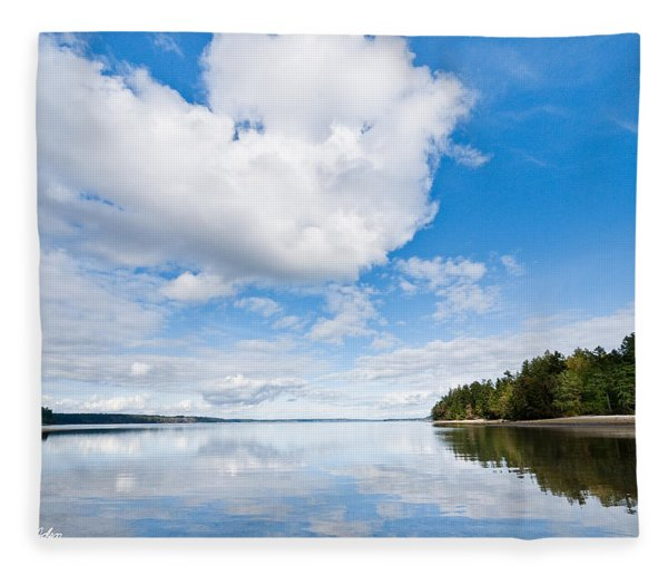 Clouds Reflected In Puget Sound Fleece Blanket