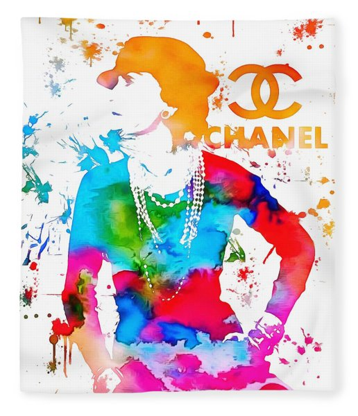 Coco Chanel Paint Splatter Fleece Blanket