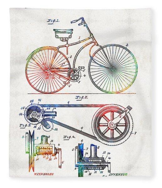 Colorful Bike Art - Vintage Patent - By Sharon Cummings Fleece Blanket