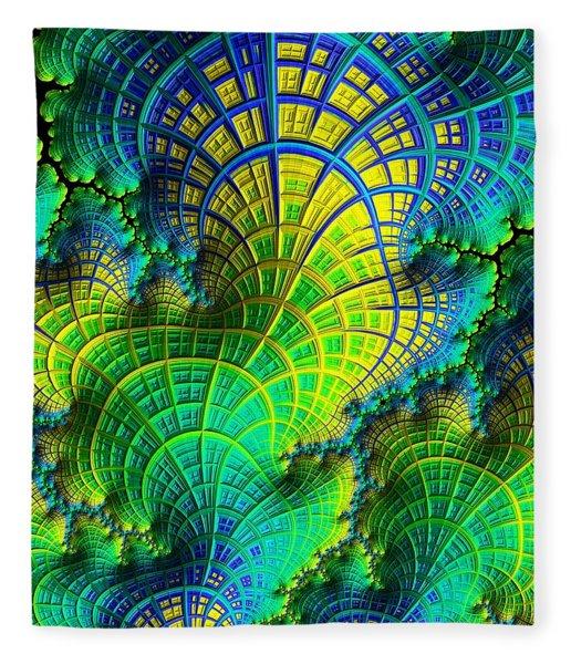 Fleece Blanket featuring the digital art Coral Electric by Susan Maxwell Schmidt