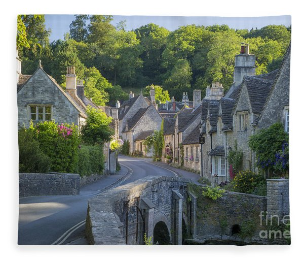 Fleece Blanket featuring the photograph Cotswold Village by Brian Jannsen