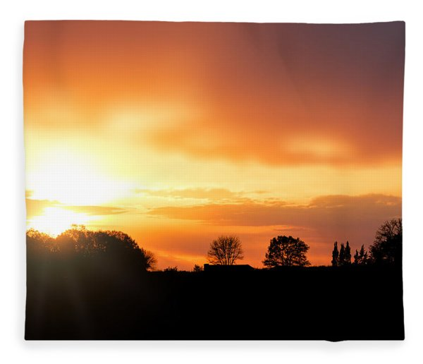 Country Sunset Silhouette Fleece Blanket