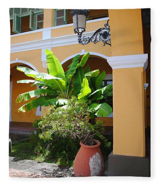 Courtyard Old San Juan Fleece Blanket