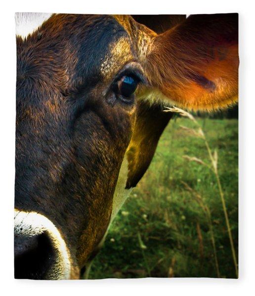 Cow Eating Grass Fleece Blanket