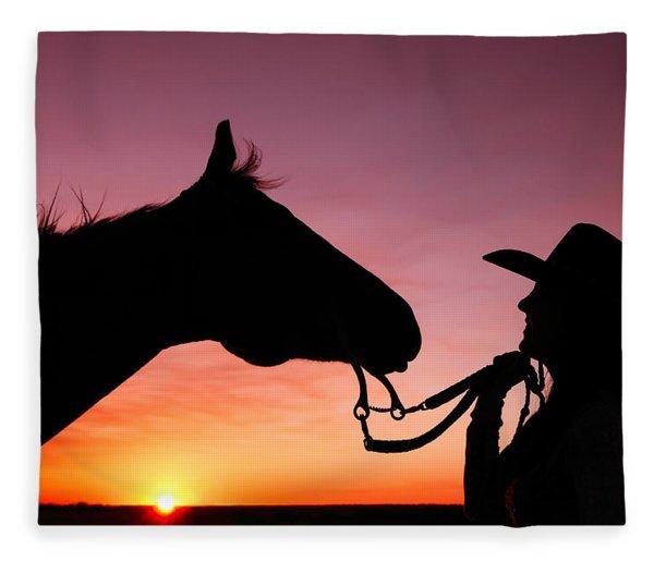 Cowgirl Sunset Fleece Blanket