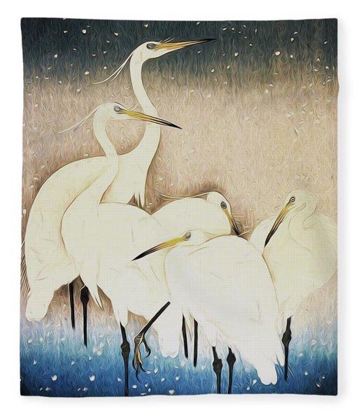 Cranes  Fleece Blanket