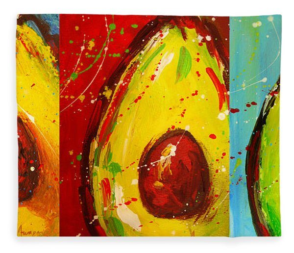 Crazy Avocados Triptych  Fleece Blanket