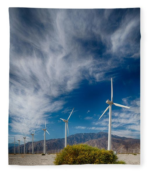 Creosote And Wind Turbines Fleece Blanket