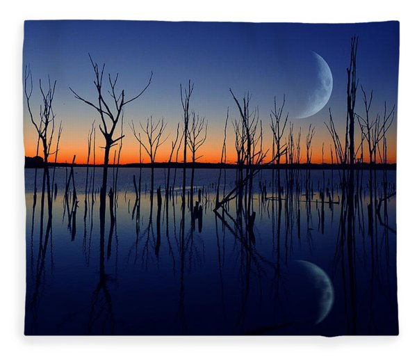 Fleece Blanket featuring the photograph The Crescent Moon by Raymond Salani III