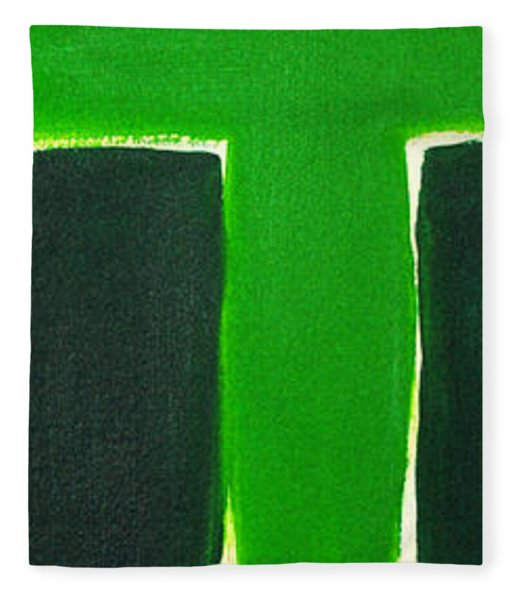 Green Cross On Hill Fleece Blanket