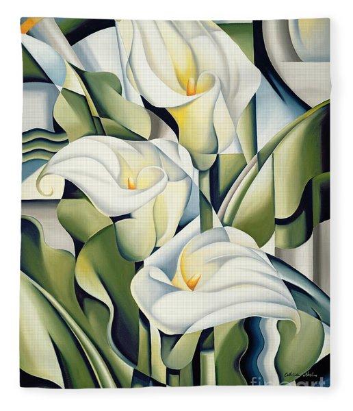 Cubist Lilies Fleece Blanket