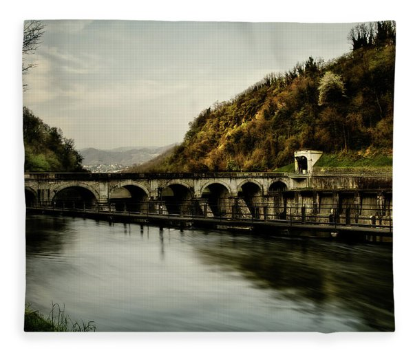 Dam On Adda River Fleece Blanket