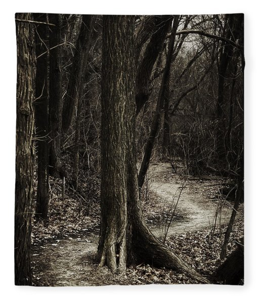 Dark Winding Path Fleece Blanket
