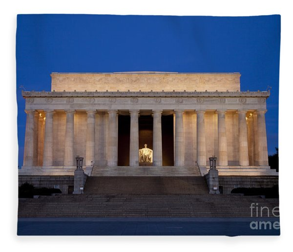 Fleece Blanket featuring the photograph Dawn At Lincoln Memorial by Brian Jannsen