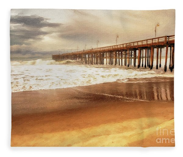 Day At The Pier Large Canvas Art, Canvas Print, Large Art, Large Wall Decor, Home Decor, Photograph Fleece Blanket
