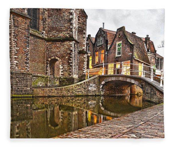 Delft Behind The Church Fleece Blanket