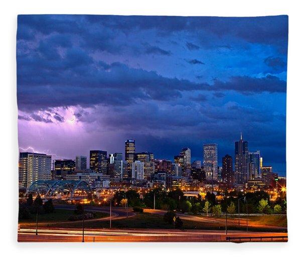 Denver Skyline Fleece Blanket