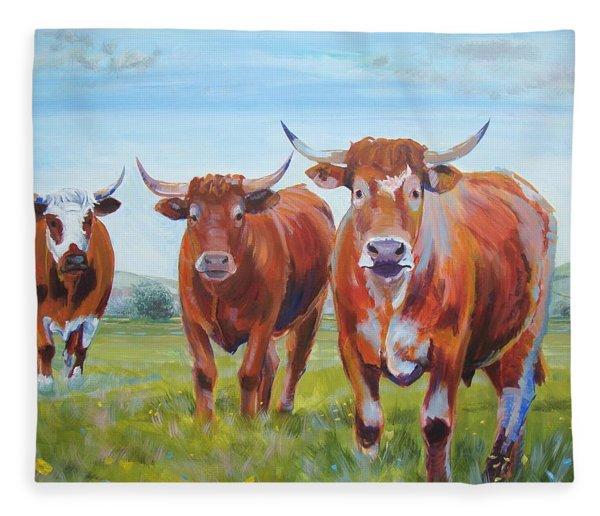 Devon Cattle Fleece Blanket