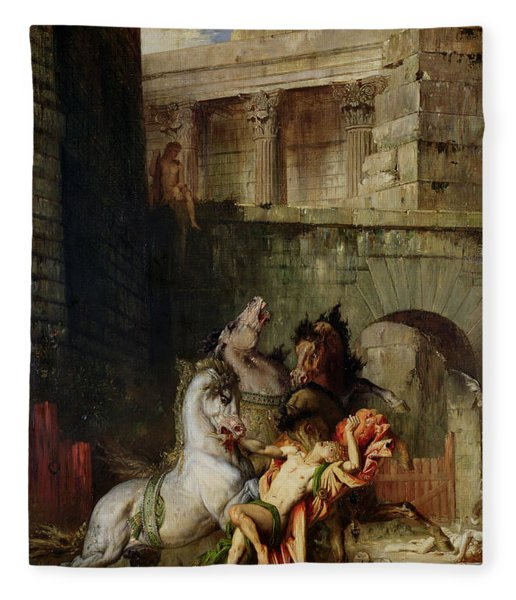 Diomedes Being Eaten By His Horses, 1865 Oil On Canvas Fleece Blanket