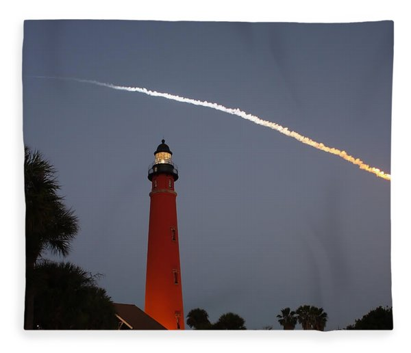 Discovery Booster Separation Over Ponce Inlet Lighthouse Fleece Blanket