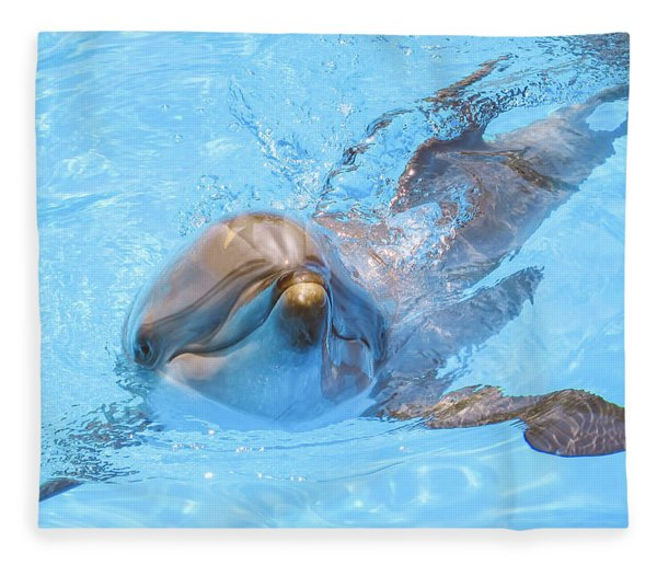 Dolphin Swimming Fleece Blanket