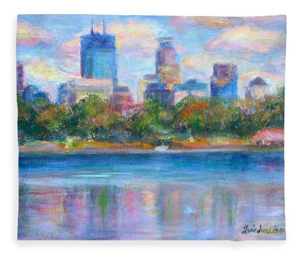 Downtown Minneapolis Skyline From Lake Calhoun Fleece Blanket