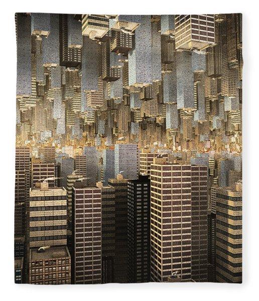 Fleece Blanket featuring the digital art Downtown/uptown by Matt Lindley