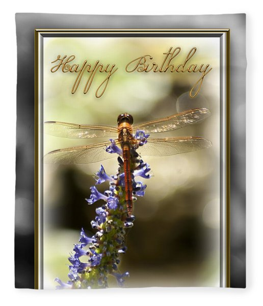 Fleece Blanket featuring the photograph Dragonfly Birthday Card by Carolyn Marshall