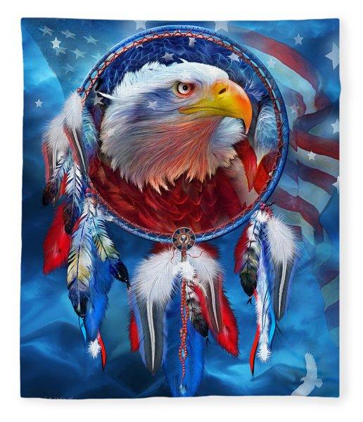 Dream Catcher - Eagle Red White Blue Fleece Blanket