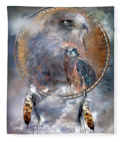 Dream Catcher - Hawk Spirit Fleece Blanket