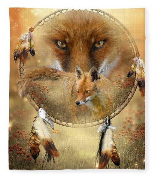 Dream Catcher- Spirit Of The Red Fox Fleece Blanket
