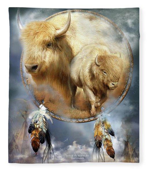 Dream Catcher - Spirit Of The White Buffalo Fleece Blanket