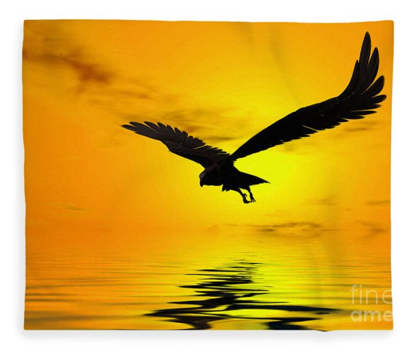 Eagle Sunset Fleece Blanket