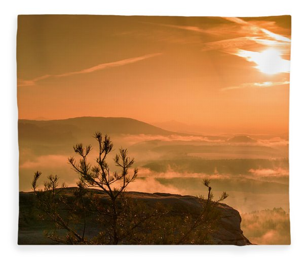 Early Morning On The Lilienstein Fleece Blanket