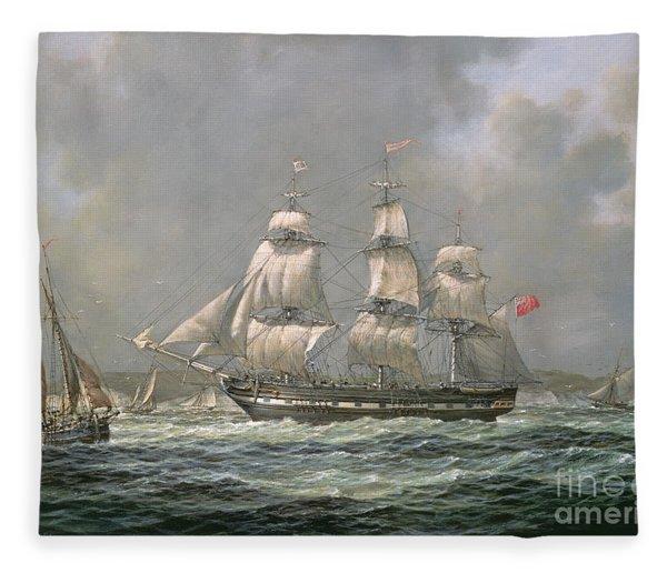 East Indiaman Hcs Thomas Coutts Off The Needles     Isle Of Wight Fleece Blanket