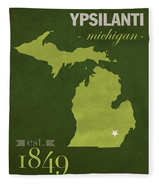 Eastern Michigan University Eagles Ypsilanti College Town State Map Poster Series No 035 Fleece Blanket