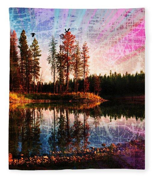 Echo Lake In Montana Fleece Blanket