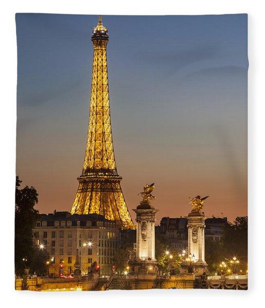 Fleece Blanket featuring the photograph Eiffel At Twilight by Brian Jannsen