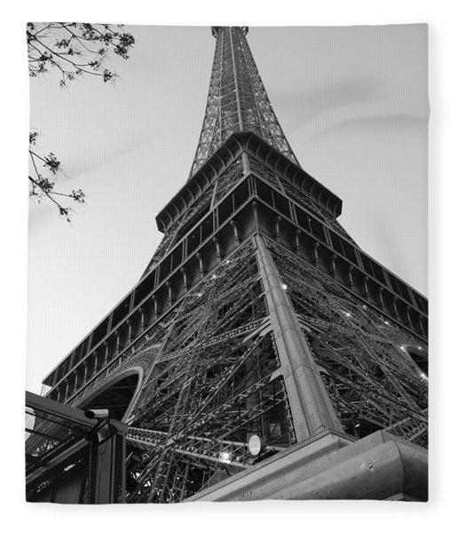 Eiffel Tower In Black And White Fleece Blanket