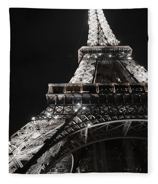 Eiffel Tower Paris France Night Lights Fleece Blanket