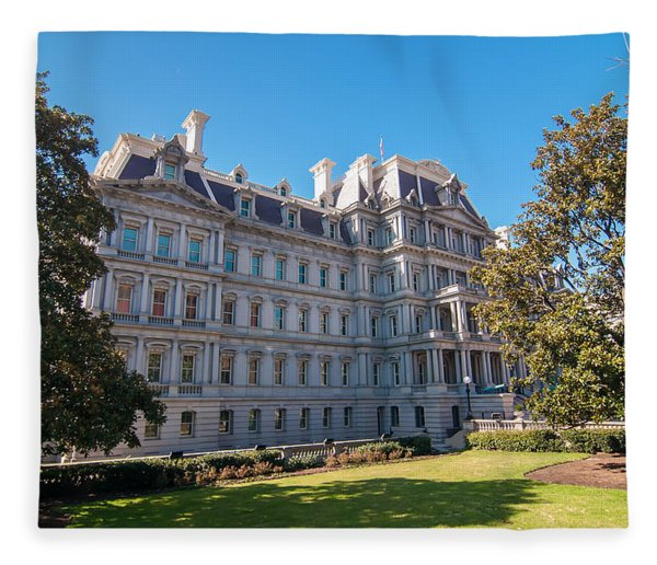 Fleece Blanket featuring the photograph Eisenhower Executive Office Building In Washington Dc by Alex Grichenko