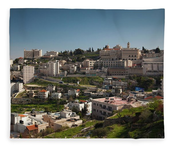 Elevated Town View From Manger Street Fleece Blanket