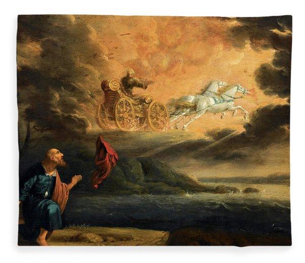 Elijah Taken Up Into Heaven In The Chariot Of Fire Fleece Blanket