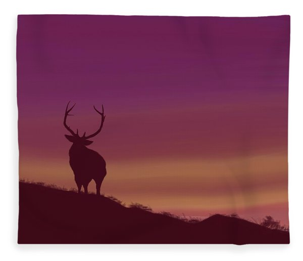 Elk At Dusk Fleece Blanket