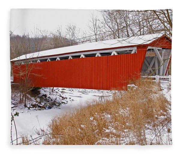 Everett Rd. Covered Bridge In Winter Fleece Blanket