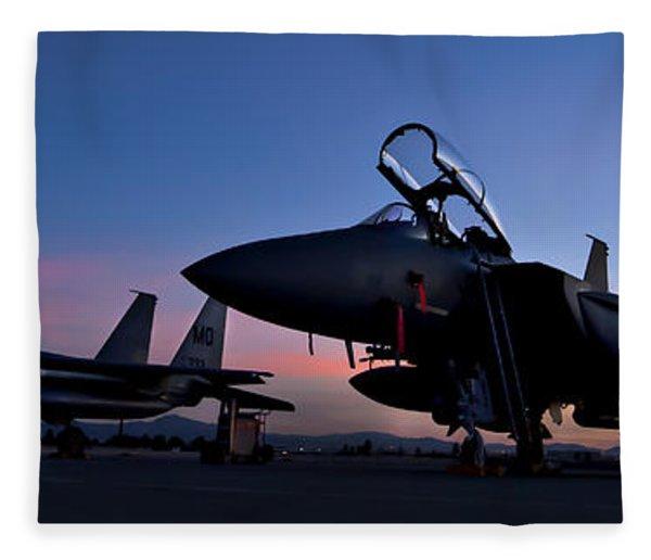 F-15e Strike Eagles At Dusk Fleece Blanket