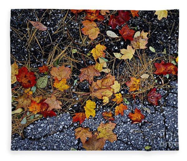 Fall Leaves On Pavement Fleece Blanket