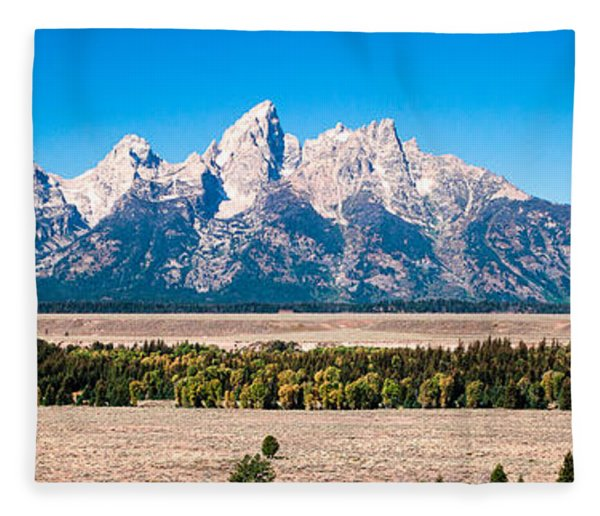 Fall Tetons Panorama   Fleece Blanket